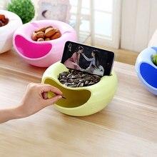 Форма закуска пластиковая тарелка для фруктов для «ленивых» двойная закуска чаша для хранения Фруктовая тарелка с держателем телефона многоцветная опционально
