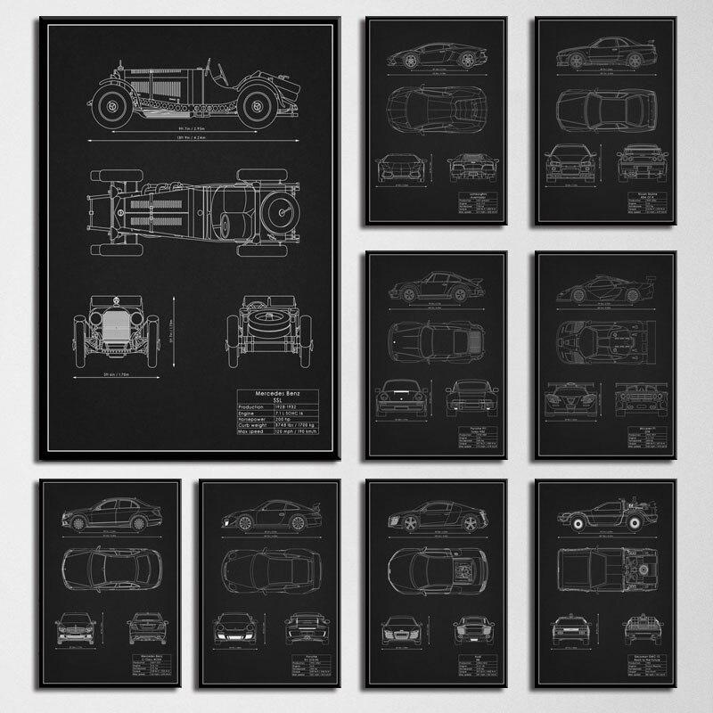 Художественный декор супер мощный автомобиль патентный чертеж Mustang M3 GTR настенная Картина на холсте Шелковый плакат украшение дома