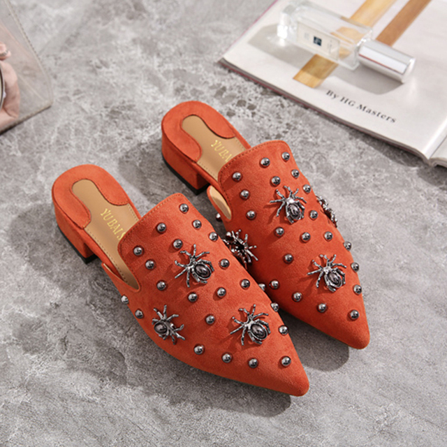 Fashion Shoes Women Slippers Pointed Toe Flat Women Shoes Lady Mules Spider Decoration Heel Shoes Female Slipper Plus Size 35-41