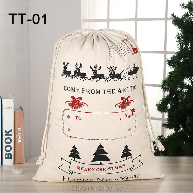 Santa Sack 30pcs/lot Wholesale Christmas Bags Drawstring Party Canvas Bag Santa Claus Kids Bags Christmas Gift New Arrival