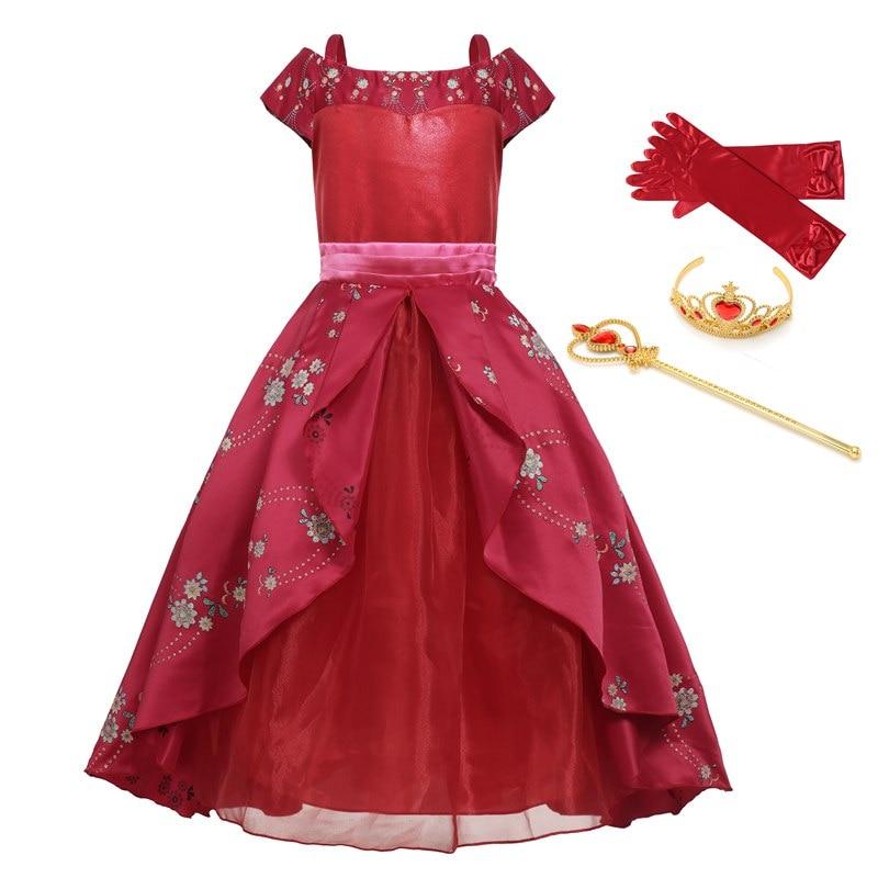 В классическом стиле для девочки с изображением принцессы Елены красный Карнавальный Костюм «Человек-паук»; Детские принцесса авалора» Ел...