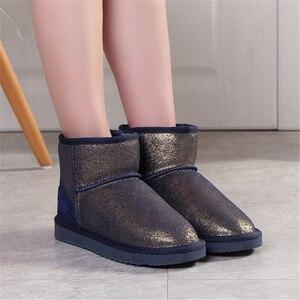 Image 4 - JIANBUDAN Bò Da Lộn Ủng Da Thật Chính Hãng Da Sang Trọng Ấm Giày Bốt Nữ In Hoa Văn Size Lớn Vải Cotton Mùa Đông Mắt Cá Chân giày
