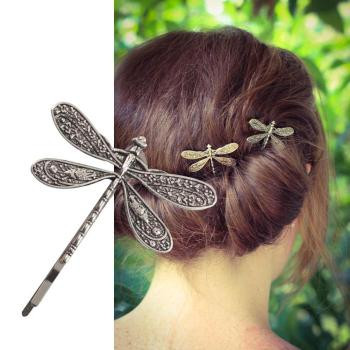 Ancient Vintage Silver Color Dragonfly Hairpin Insect Shape Headdress Style Hair Clip Wedding Bridal Accessories - discount item  32% OFF Headwear