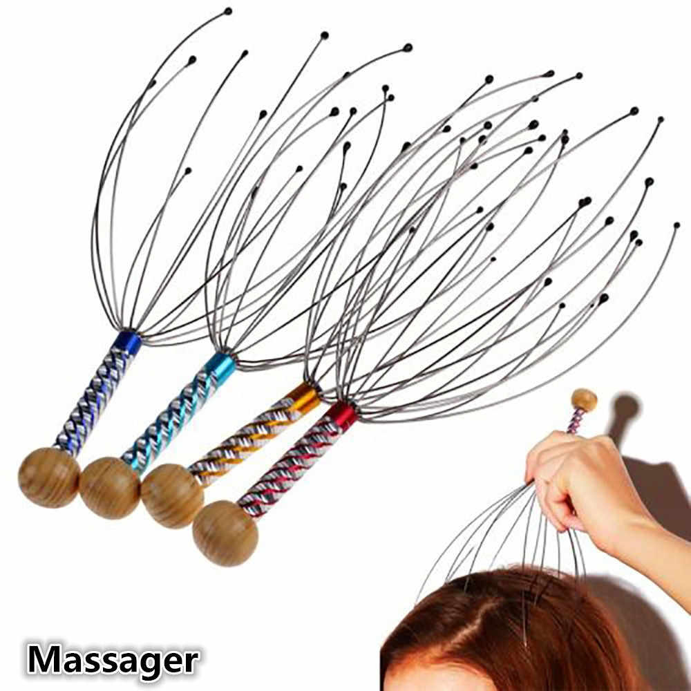 1Pcs 12 Finger Head Relax Massager Hair Held SPA Scalp Neck Stress Relief Massage Release Head Physician Steel Ball Massager