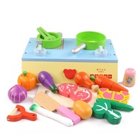 Baby pretend play wooden kitchen toy food cooking toys play miniature kitchen set cutting fruit and vegetable toys
