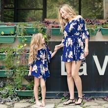 Family Matching Off Shoulder Mini Dress Mommy and Me Flower Print High Waist 3/4 Sleeve Short Dress with Belt NO30-35 off shoulder stripe pattern dress with waist belt