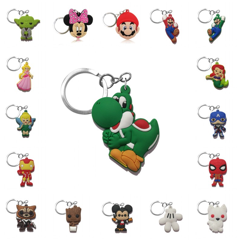 1pcs Keychain PVC Cartoon Figure Mickey Super Mario Key Chain Avenger Mini Anime Key Ring Minnie Key Holder GOT Fashion Charms
