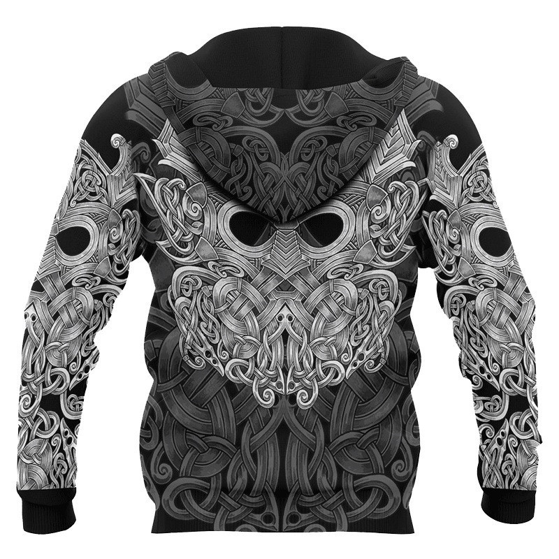 Viking Warrior Tattoo 3D Printed Men`s hoodies Unisex Fashion Pirate Cosplay Costume Hooded Sweatshirt Men Women Jacket Coat S-5XL (1)