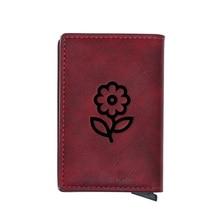 Cute Cartoon Flower Credit Card Holder Wallet Classic Pu Leather  Men Women Slim Small Credit Card Short Purse