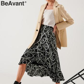 BeAvant Summer Midi Skirts Black Women 2020 Print Lace Up High Fashion Wrap Sexy Skirt Female Spring A Line Skirts Holiday Lady 3