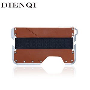 DIENQI Rfid Real Cow Genuine Leather Men Wallet Aluminum Metal Purse Slim Mini Card Holder Magic Wallet Short Small Money Walet(China)