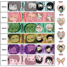 30 Pcs Planar Resins Grosgrain/Satin Ribbon Japan Cartoon Ghost Printed 5 Yards 25mm/38mm/50mm/75mm for Headwear DIY Decoration