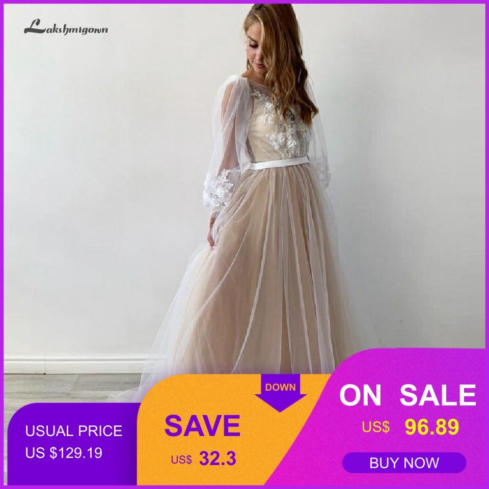 Sexy Bridal Boho Wedding Dress Plus Size Champagne Princess Long Sleeve Wedding Gowns 2020 Hochzeit Open Back Robe Mariage