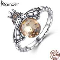 Bamoer 100% autêntico 925 prata esterlina asa laranja animal abelha dedo anel para mulher prata esterlina jóias natal scr025