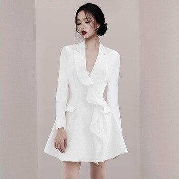 Trajes de vestir para mujeres chaqueta Blazer de manga larga diseñador de pasarela blanco elegante volante Oficina señoras Mini vestido femenino de talla grande