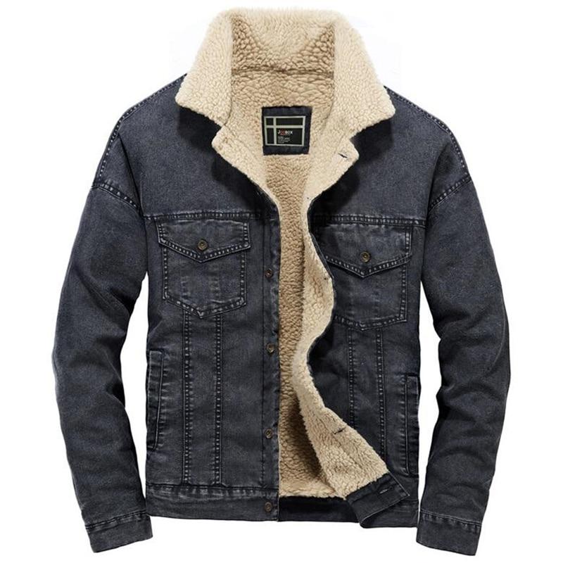 Denim Jacket Men Winter Streetwear Fashion Turn Down Fur Collar Windbreaker Cowboy Jackets Men's Outwear Hip Hop Jeans Coat