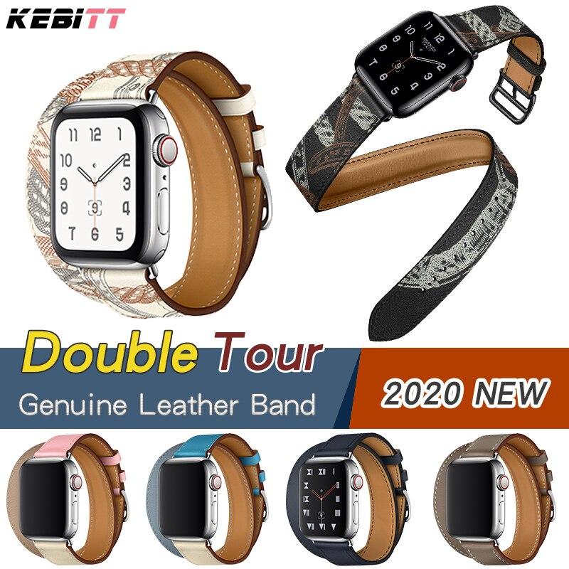 Double tour bracelet en cuir véritable pour apple watch série 5 4 3 2, iwatch4 bracelet à deux boucles avec ceinture de remplacement pour iwatch