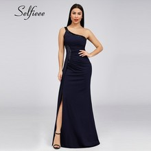 Sexy Women Maxi Dresses Long Sequined Sleeveless One Shoulder Solid Vintage High Split Bodycon Summmer Evening Party