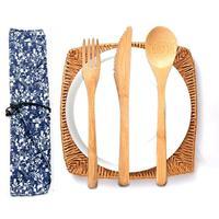 Japanischen Stil Tragbare Natürliche Holz Umweltfreundliche Besteck Set Mit Bindung Draht Gabel Löffel Stäbchen Drop Verschiffen-in Besteck-Sets aus Heim und Garten bei