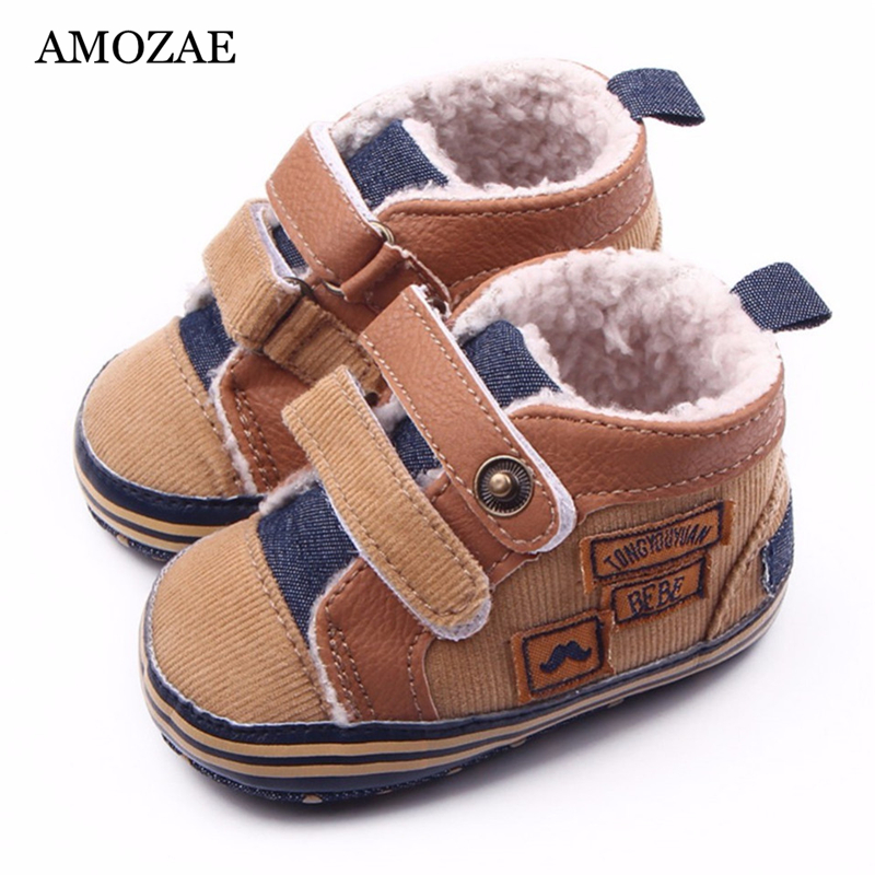 2020 New Fashion Warm Autumn Winter Canvas Stitching PU Baby Shoes Baby First Walker Toddler Shoes For Baby Boys Cotton Shoes