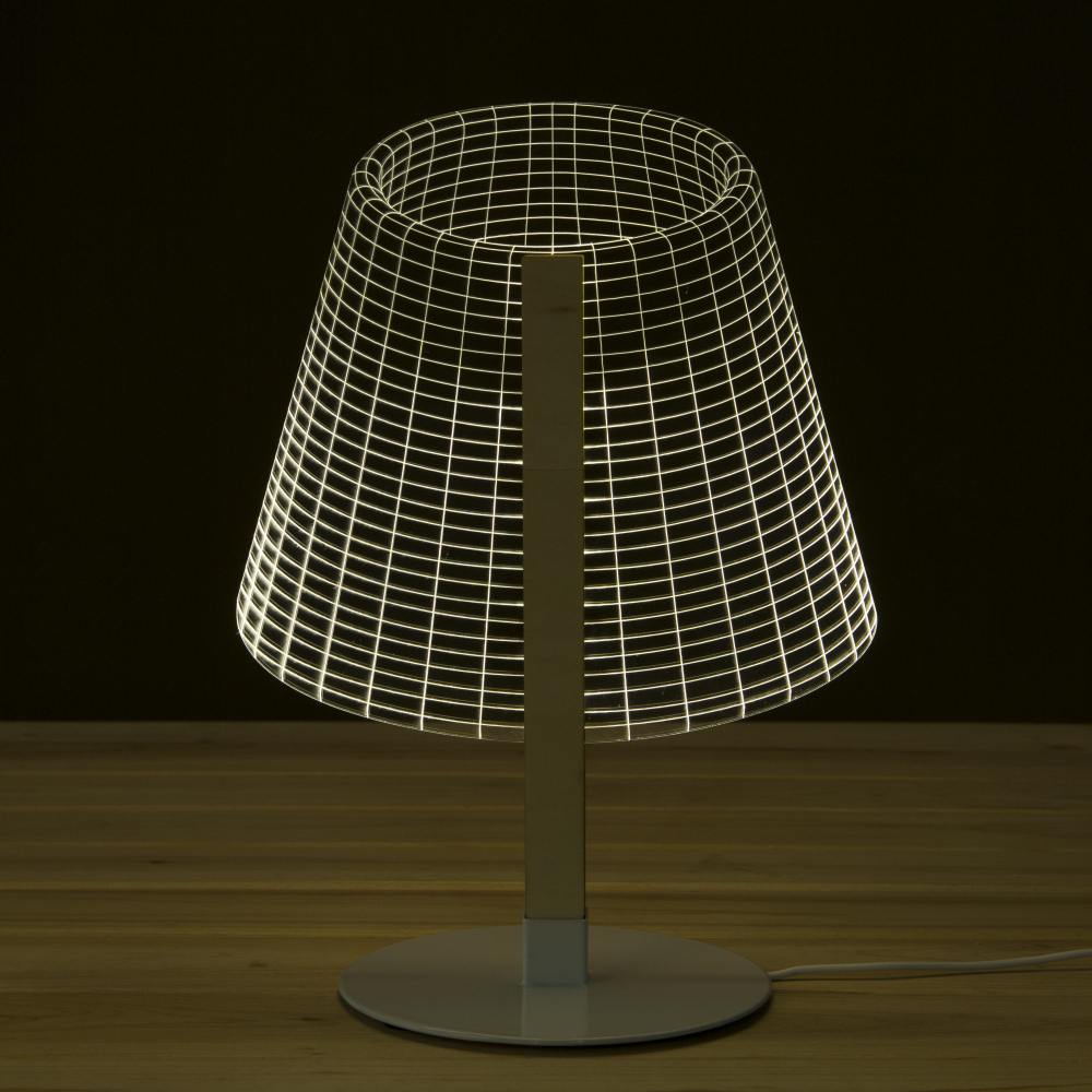 Tiny LED Visual Lamp Novelty Lighting 3D Wooden Desk Lamp Reading Glowing Light Lampshades 3D Optical Illusion USB Night Light