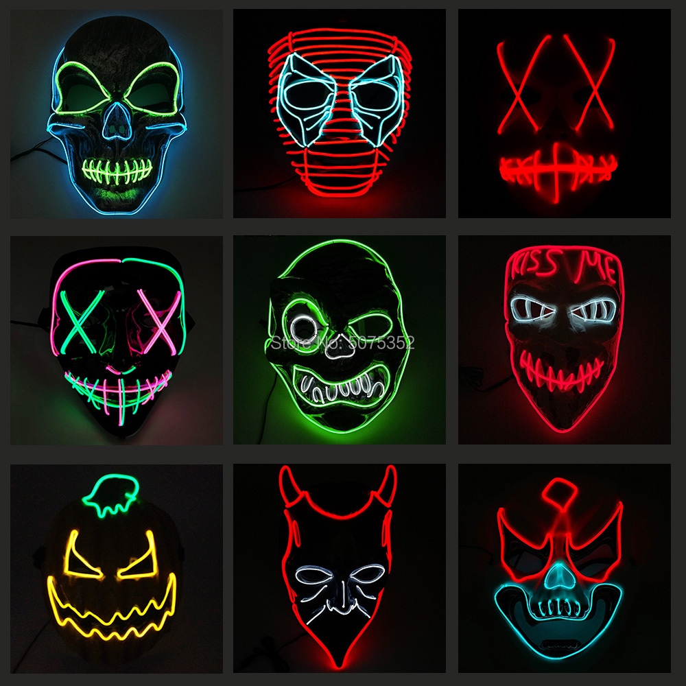 Newest Design EL Wire Glowing Mask Party Rave Neon Led Mask Halloween Decor Horror Clown Light Up Mask Masque Masquerade