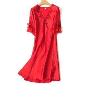 Image 4 - Dekolt w kształcie litery v Sleepdress koreańska wersja lodu jedwabiu z krótkim rękawem koronkowa spódniczka domu nocna seksowna bielizna nocna kobiet jedwabiu bielizna sukienka do spania