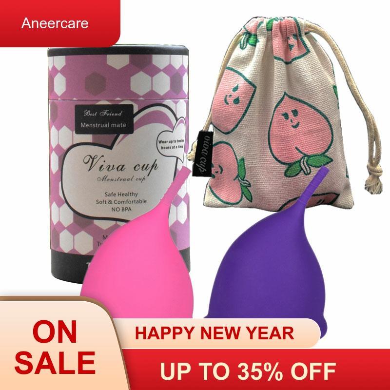 1 conjunto copa menstrual de silicona medica menstrual copo período menstrual coletor copo higiene feminina coppetta metruale