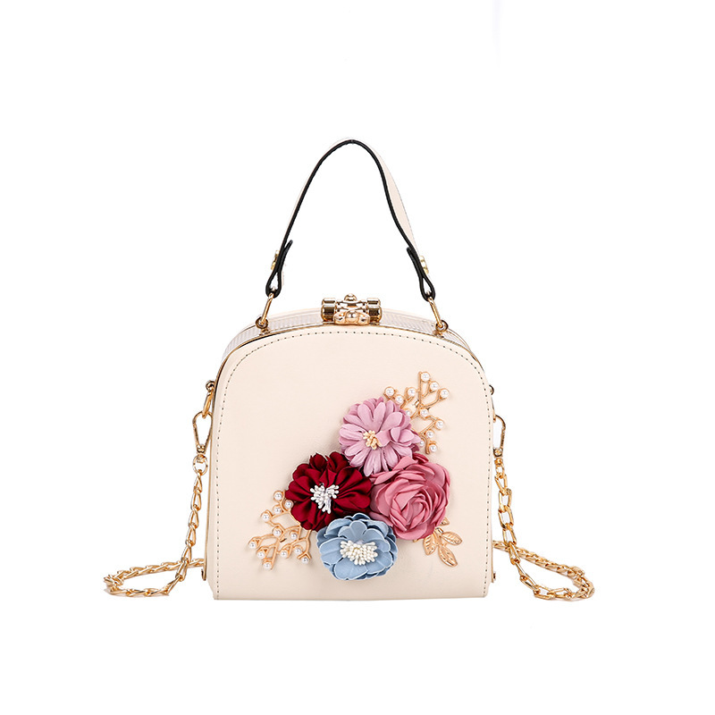 Metal Clip Small Square Bag Dinner Tote Floral Luxury Leather Handbags Women Bags Designer 2019 Mini Flap Chain Sac A Main Femme