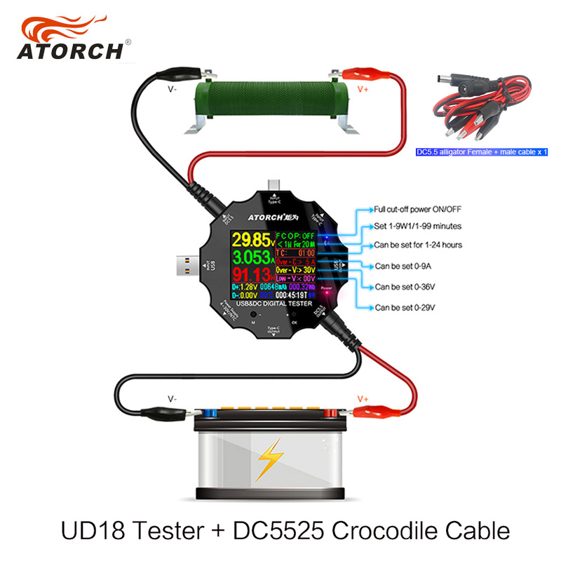 USB tester dc digital voltmeter amp <font><b>voltage</b></font> current meter ammeter USB3.0 18 in 1 detector power bank charger +DC Crocodile clip image