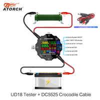 USB tester dc digital voltmeter amp voltage current meter ammeter USB3.0 18 in 1 detector power bank charger +DC Crocodile clip