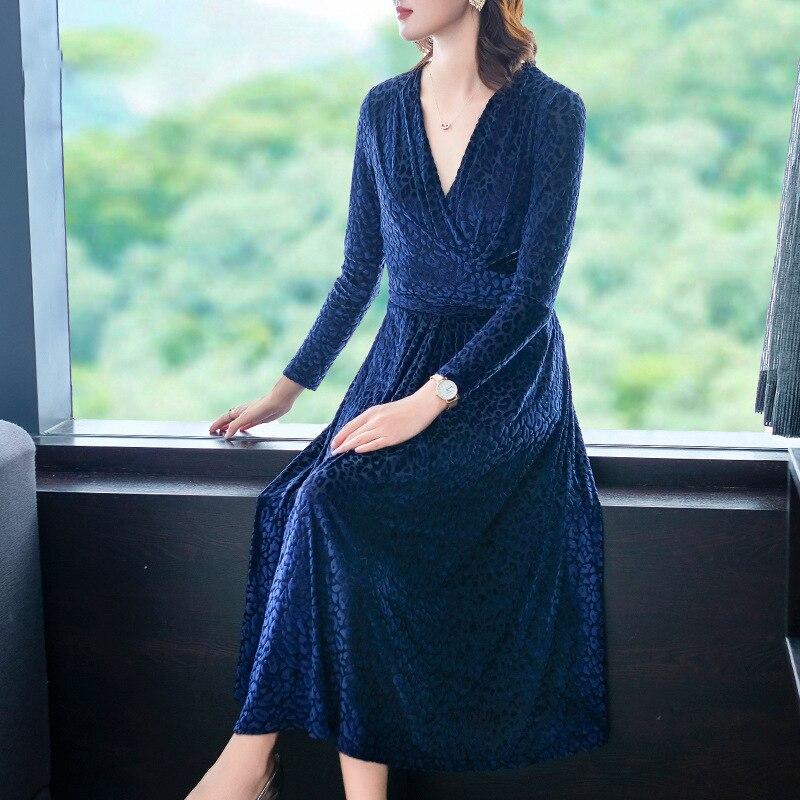 Automne nouveau Style doré velours tempérament robe 2019 femmes grande taille robe populaire