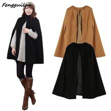 FENGGUILAI New Winter Autumn 2019 Khaki Black  Women Loose Coat Batwing Wool Poncho Warm Jacket Cloak Cape Parka Outwear