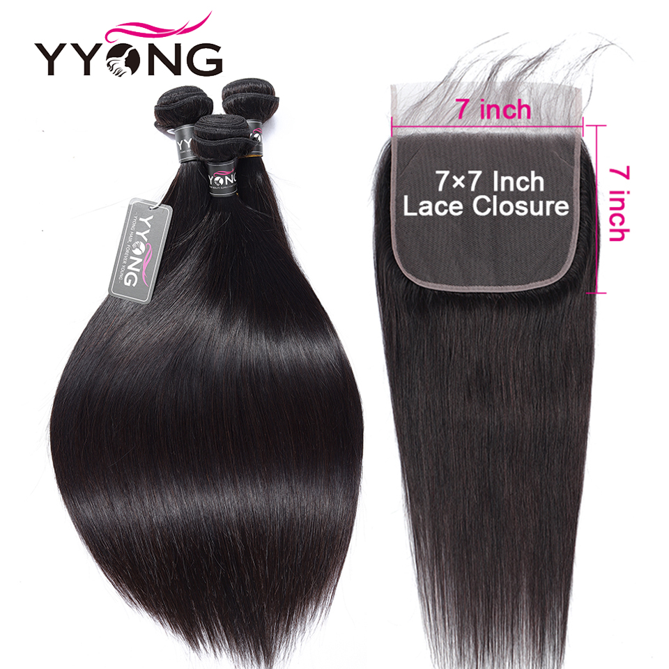 Yyong Straight Hair Bundles With 7x7 Lace Closure Brazilian Human Hair Weave Bundles With Closure Hair