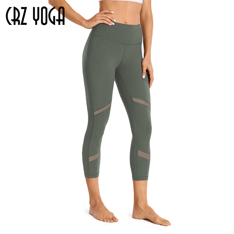 CRZ YOGA Women's Naked Feeling Mid-Waist Mesh Panels Splice Tights Yoga Capri Workout Leggings -21 Inches