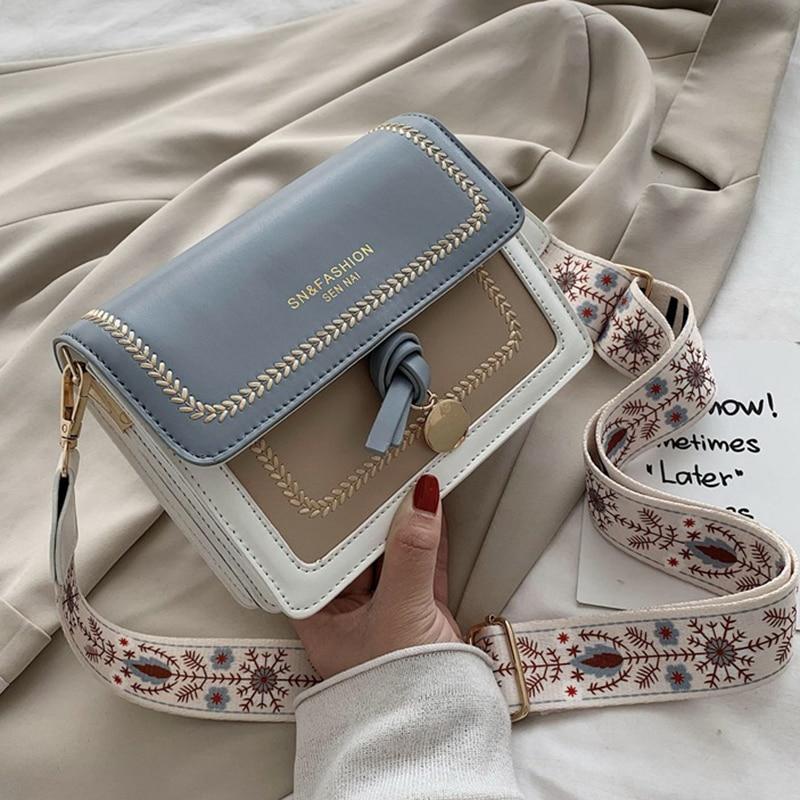 Contrast color Leather Crossbody Bags For Women 2021 Travel Handbag Fashion Simple Shoulder Messenger Bag Ladies Cross Body Bag