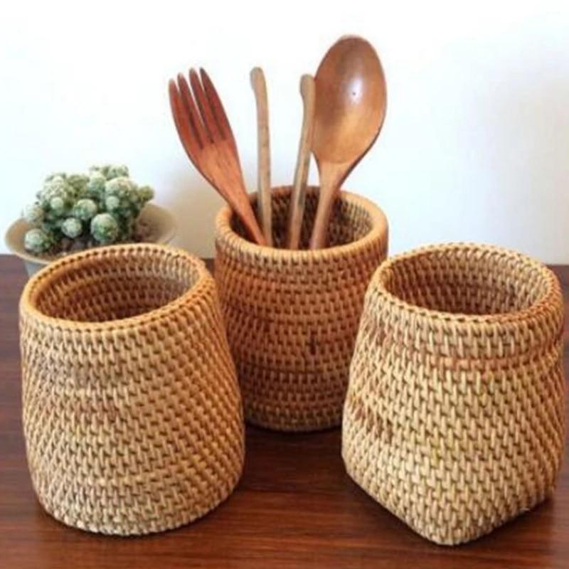 Ротанг и палочками для еды ложки лопатки ведро ножи, вилки коробка для хранения столовой посуды домашнего хранения корзины-Органайзер
