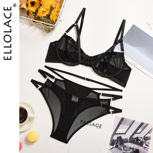 Ellolace Lingerie Set Transparent Bra Set Push up Underwear Women Set Lace Bralette and Panties Sexy Lenceria Bra and Party Set
