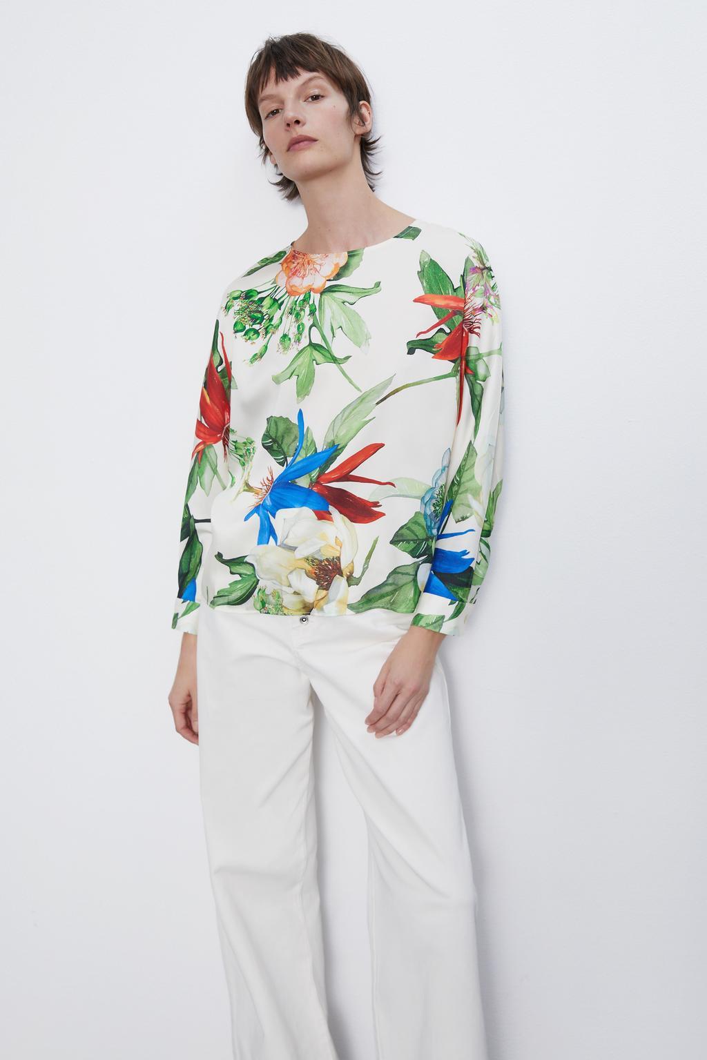 2020 New Spring Summer New Style European Printed Flowing Female Tops Zaraing Vadiming Sheining Women Printed Base Shirt