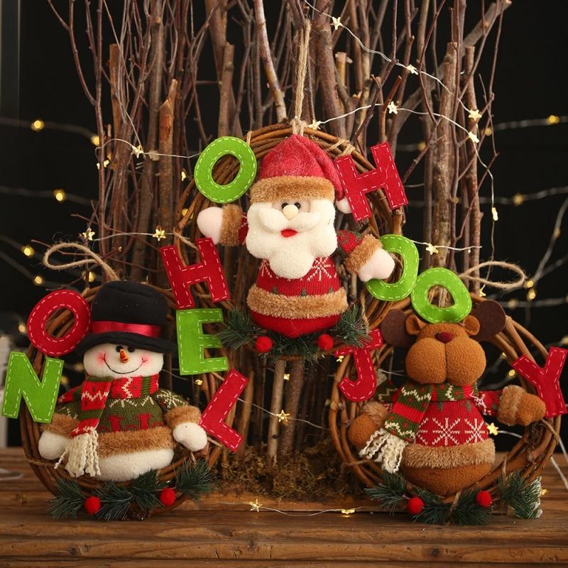 Christmas Wreath Pendant Plush Doll Santa Snowman Elk Rattan Hanging Decorations For Festival Supplies