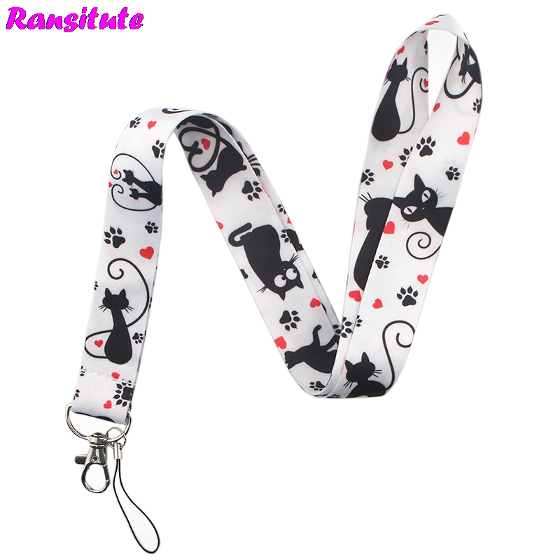 Ransitute R500 Cute Cat Lanyard Neck Strap For Keys ID Card Mobile Phone Straps Badge Holder DIY Hang Rope Neckband Accessories