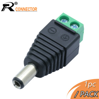 R Connector 1pc Power DC Jack CCTV System Video Balun 5.5*2.5mm DC Power Plug Terminals Connector Adapter image