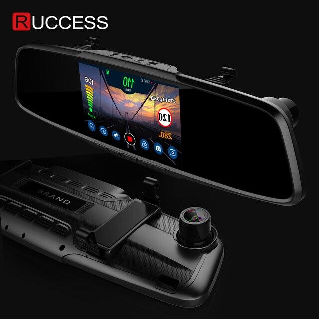 """Ruccess 5.0 """"rejestratory samochodowe 3 w 1 lusterko wsteczne rejestrator policja wykrywacz radarów z GPS FHD 1080p Dashcam podwójny obiektyw do telefonu kamera DVR"""