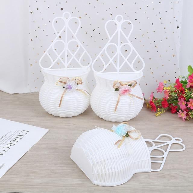 Artificial Flower Hanging Basket Vase Rattan Wall Hanging Small Artificial Rattan Flower Basket For Home Decoration Color Random 2