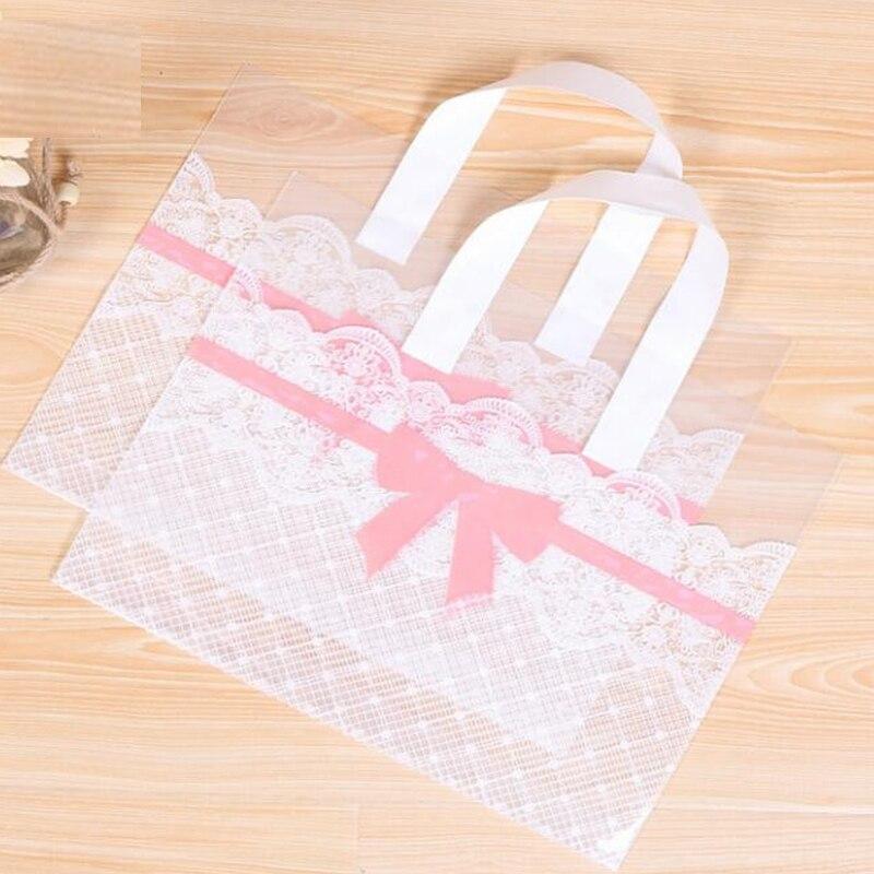 50pcs 33x25cm grand Shopping sac en plastique avec poignées grand cadeau sacs bijoux biscuits sac grand rose bowknot supermarché vêtements sac
