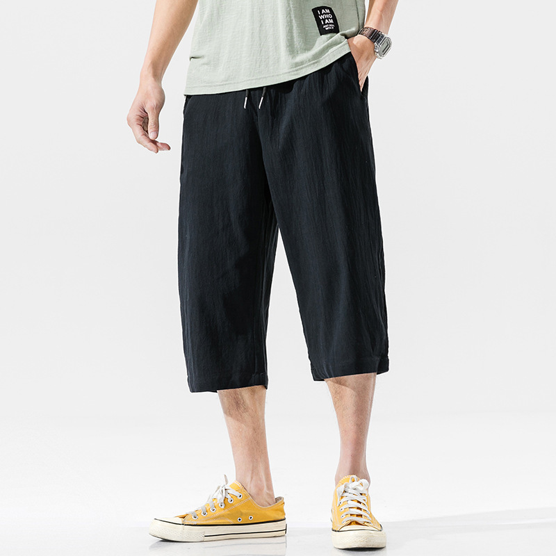 2020 Summer New Mens Cotton Linen Casual Pants Youth Cropped Pants Large Size Men's Breathable Pants