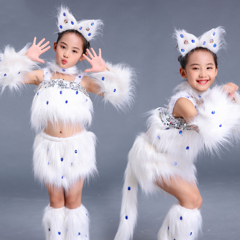 White Jazz Dance Costumes Girls Party Cat Cosplay Rave Outfits Halloween Hip Hop Performance Clothing Animal Stage Wear DC4057