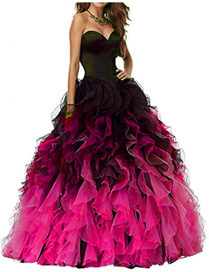 Sweethart Ball Gown Puffy Ombre Organza Prom Dresses Long Quinceanera Dresses