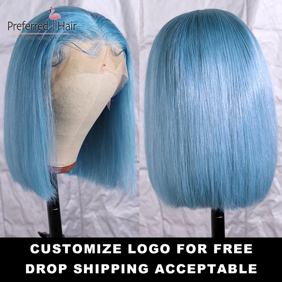Preferred Light Blue Wig Brazilian Remy Hair Purple Lace Front Wig Preplucked Glueless Short Human Hair Bob Wigs For Black Women Pakistan