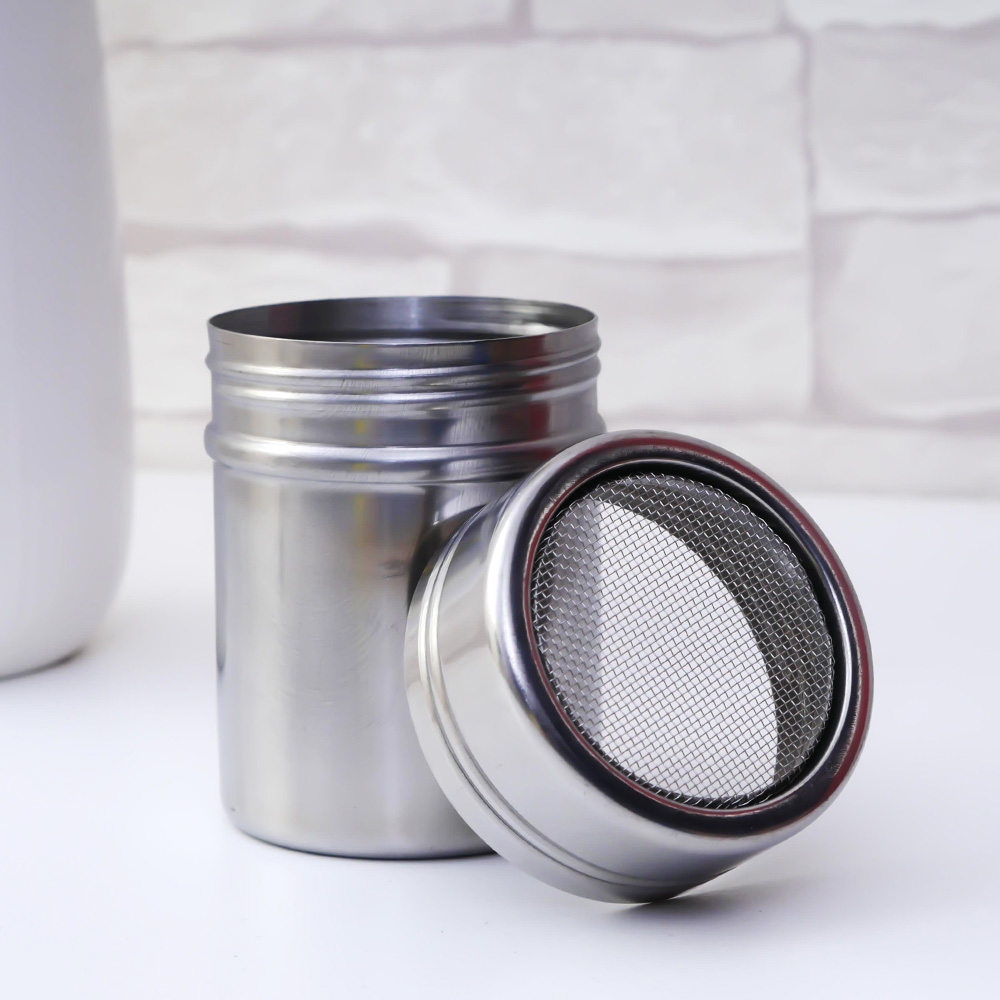 Hot New Stainless Steel Chocolate Shaker Cocoa Flour Icing Sugar Powder Coffee Sifter Lid Shaker Cooking Tool Coffee Accessories